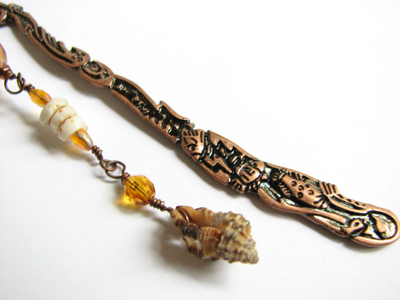 Beaded Copper Dolphin Bookmark with Sea Shells - product images  of