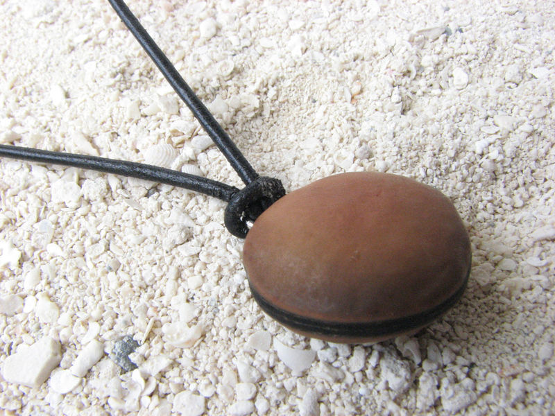 Hamburger Sea bean Leather Choker Necklace - product images  of