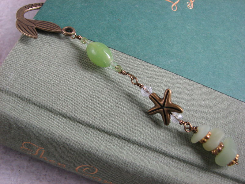 Antiqued Brass Beaded Mermaid Bookmark - product images  of