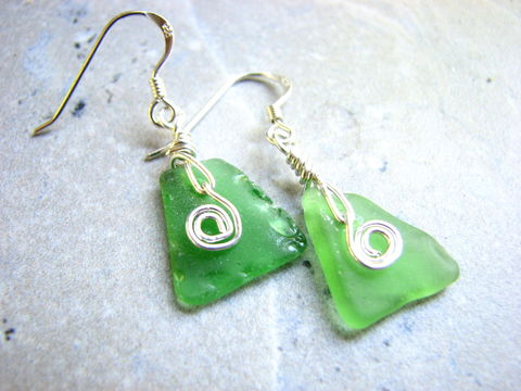 Wire,Wrapped,Green,Triangle,Sea,Glass,Earrings,-,Sterling,Silver,wire wrapped, sea glass earrings, green sea glass, sterling silver wrap, coil wrapped, green triangles, triangle sea glass, green seaglass earrings, green sea glass jewelry, wire wrapped jewelry, bits off the beach, bitsoffthebeach, beach gifts, beach ear