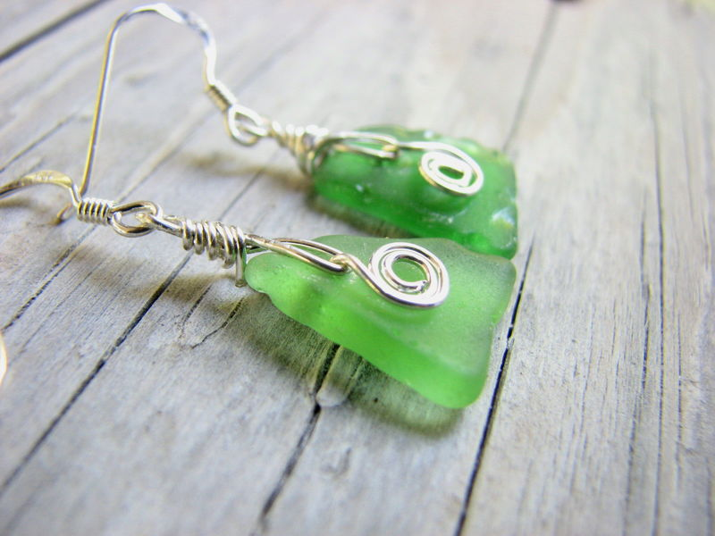 Wire Wrapped Green Triangle Sea Glass Earrings - Sterling Silver - product images  of