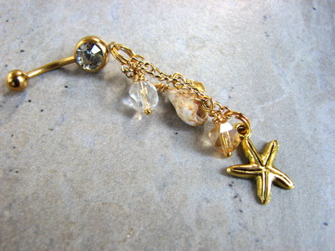 Dangling,Gold,Titanium,Beach,Belly,Button,Ring,with,Starfish,sparkly, dangly, seashell, beach, bitsoffthebeach, bits off the beach, handmade, holiday gift for her, girlfriend gift idea, gold titanium, starfish, dangling, long, belly button ring, dangle, belly ring, long belly button jewelry, sea shell belly rings,