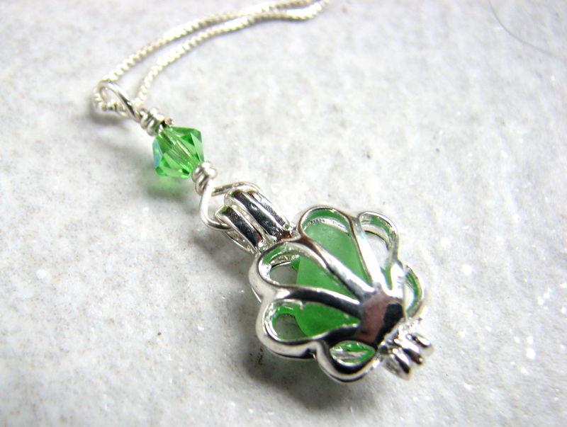Sea glass locket necklace - filigree locket pendant with green glass ...
