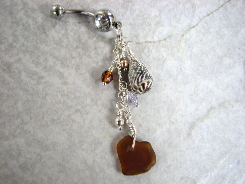 Dangly Sea Glass And Shell Belly Button Piercing In Natural Earth Tones