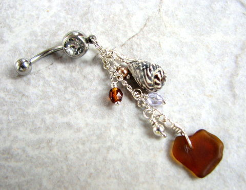 Dangly,Sea,Glass,and,Shell,Belly,Button,Piercing,in,Natural,Earth,Tones,long belly button ring, dangly belly ring, belly button jewelry, sea glass belly rings, seaglass, sea shell earth tone body jewelry, beach glass navel piercing, genuine authentic sea glass bellybutton ring, amber brown ocean nautical seashore summer wear