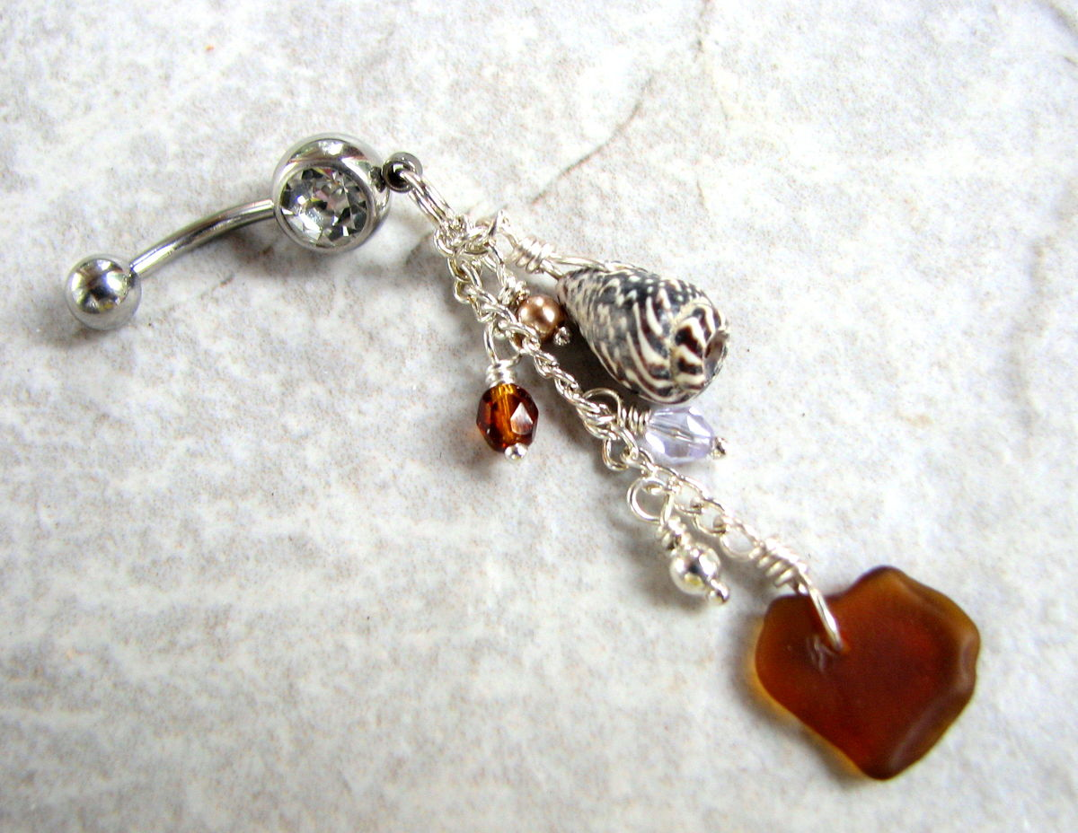 Dangly Sea Glass And Shell Belly Button Piercing In