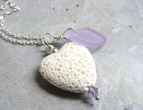Valentine,Lava,Heart,Diffuser,Necklace,with,Seaglass,aromatherapy jewelry, diffuser necklace, purple sea glass necklace, lava heart, white lava, white heart, sterling silver chain, 18 inch necklace, seaglass jewelry, seaglass necklace, cultured glass, frosted glass, faux sea glass, Valentines Day, Valentine