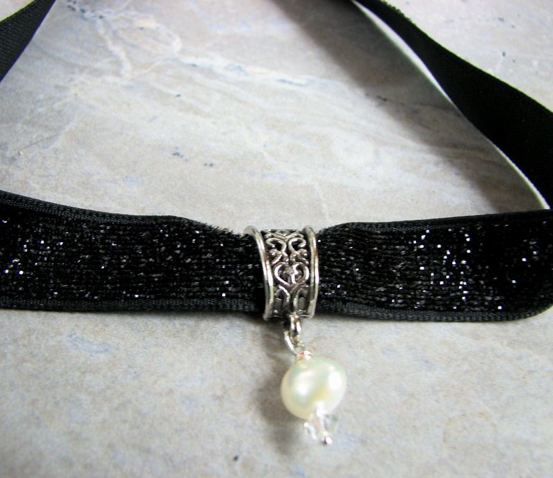Sparkly Black Pearl Choker Necklace - product images  of