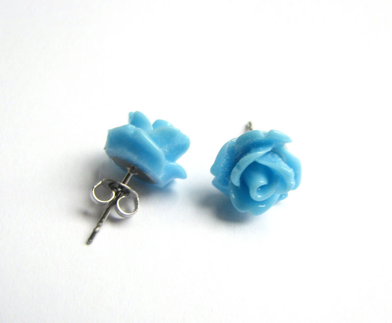 Light Blue Rose Earrings, Stainless Steel Stud Earrings for Spring - product images  of