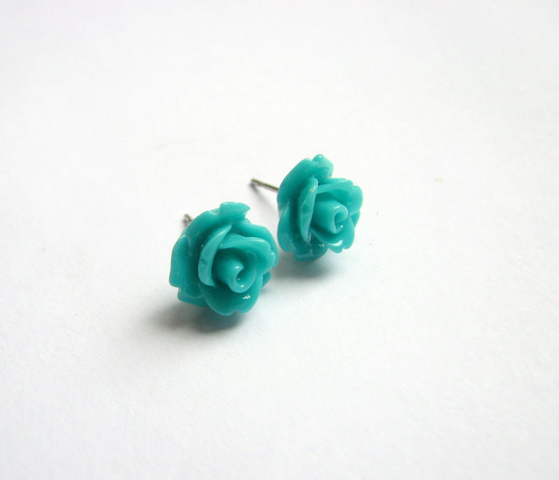 Teal Blue Rose Stud Earrings, Cute Flower Jewelry.jpg - product images  of