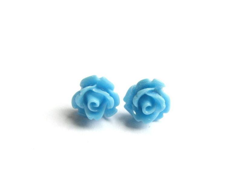 Light Blue Rose Earrings Stainless Steel Stud For Spring Bits Off The Beach