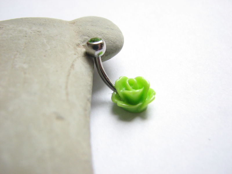 Lime Green Flower Belly Button Piercing, Dainty Belly Bars - product images  of