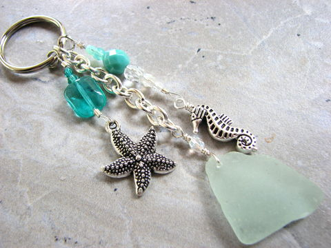 Seafoam,Sea,Glass,Key,Ring,with,Star,and,Seahorse,Charms, genuine sea glass, real seaglass, sea star charm, key ring, key chain, beach ocean, nautical, beaded, dangle, key fob, unique handmade keychain wire wrapped split ring, starfish charm