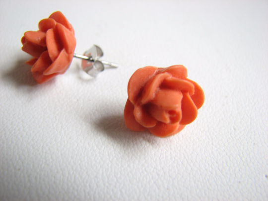 Flower Stud Earring in Summer Orange - product images  of