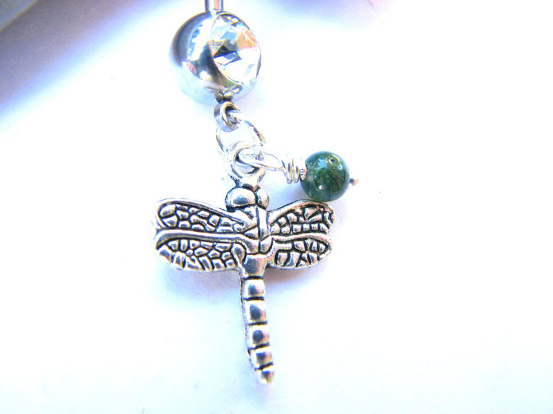 Small Dangle Dragonfly Belly Button Piercing with Jade - product images  of