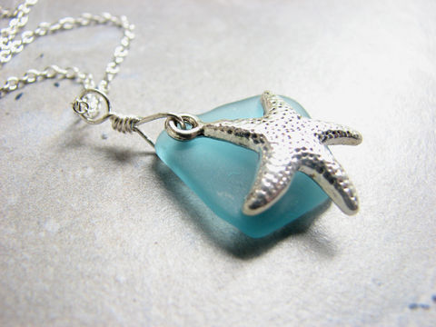 Aqua,Blue,Sea,Glass,and,Starfish,Necklace,aqua blue sea glass necklace, aqua blue seaglass jewelry, starfish necklace, sea glass and starfish necklace, sterling silver seaglass necklace, SS sea glass necklace,19 inch Sterling Chain, handmade sea glass necklace aqua beach glass necklace, blue beac
