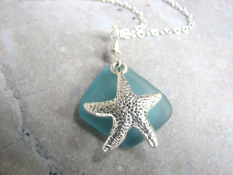 Aqua Blue Sea Glass and Starfish Necklace - product images  of