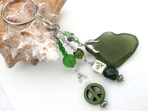 Olive,Green,Dangle,Sea,Glass,Beaded,Key,Ring,dangle key ring, keyring, keychain, keyfob, olive green sea glass key ring, beach keyring, ocean keyring, oriental beaded, peace sign, crystal beads, sparkling key chain, BitsofftheBeach