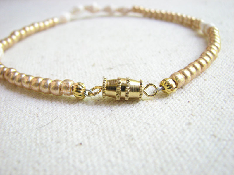 Gold Beaded Seashell Anklet, Beach Wedding Jewelry - product images  of