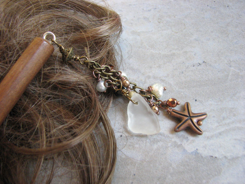 Beaded Sea Glass Hair Stick with Starfish, Decorative Wooden Hair Accessories - product images  of