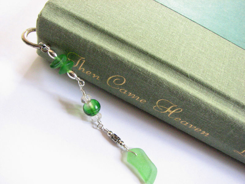 Beaded Sea Glass Bookmark on Silver Feather, Book Lover Gift Idea - product images  of