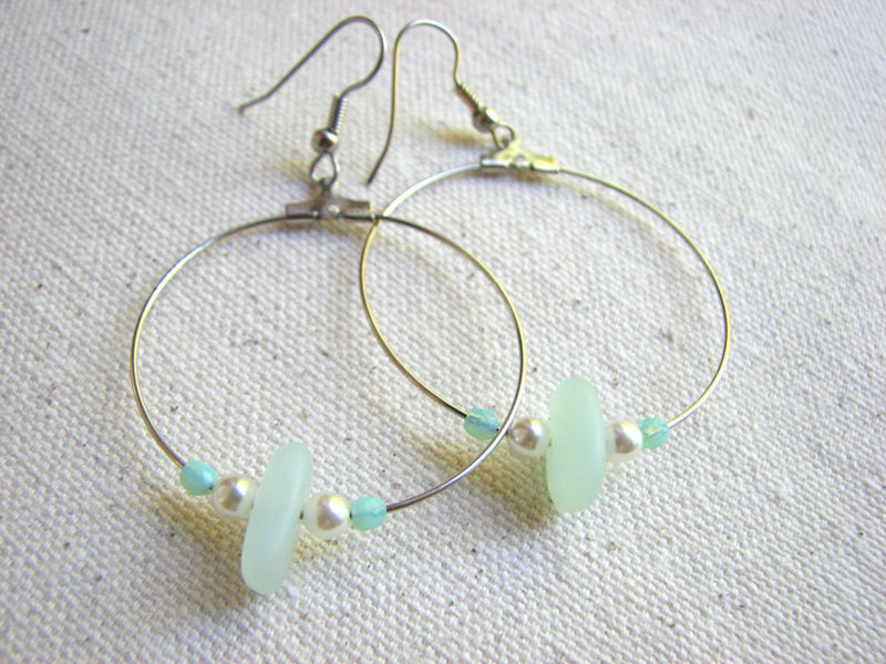 Seafoam Sea Glass Hoop Dangle Earrings - product images  of