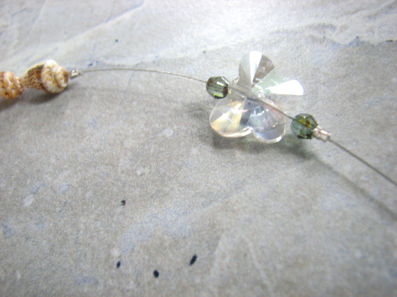 Olive Green Sea Glass and Crystal Suncatcher, Butterfly Prism - product images  of