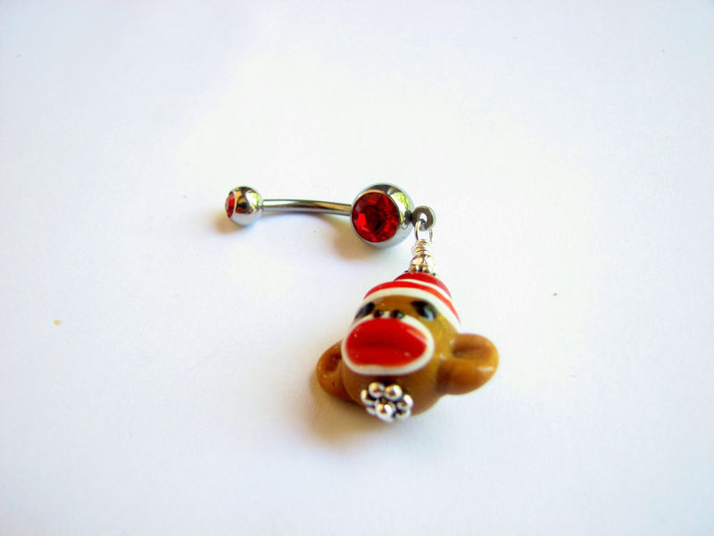Christmas Sock Monkey Belly Button Ring  - product images  of