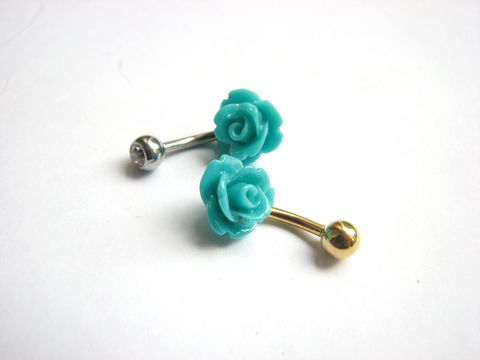 Small,Teal,Blue,Rose,Bellybutton,Ring,with,Silver,or,Gold,Belly,Bar,teal blue, turquoise blue, flower belly bar, rose belly bar, rose but, pretty, dainty, small, short, flower bellybutton ring, flower belly button jewelry, rose navel piercing