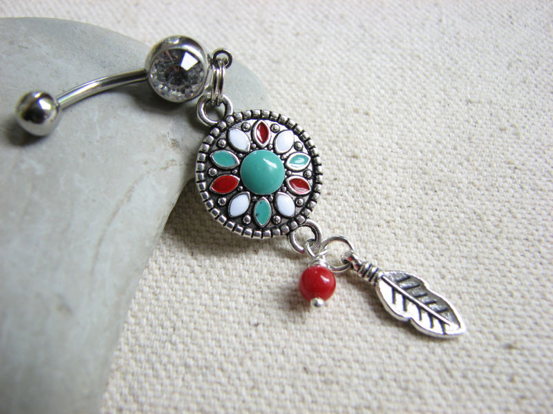 Southwestern Belly Button Ring with Silver Feather - product images  of