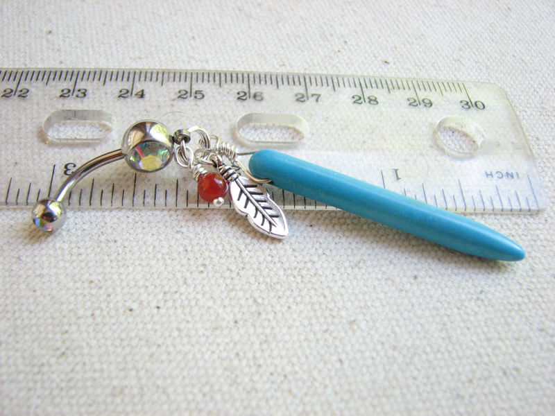 Turquoise Spike Belly Ring with Feather - product images  of