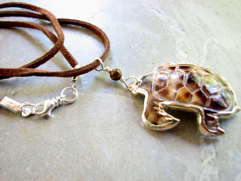 Carved Tiger Cowry Turtle Necklace   - product images  of