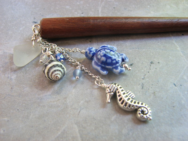 Wood Hair Stick with Dangle of Beach Glass, Sea Turtle and Seahorse in Blue - product images  of
