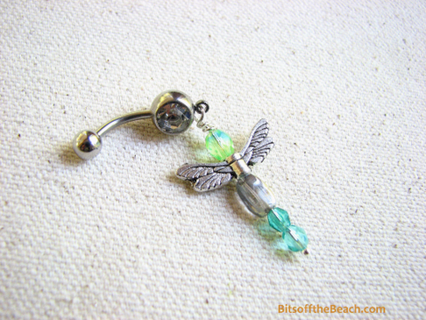 Aqua,Blue,Bead,Dragonfly,Belly,Ring,Bits off the Beach, BitsofftheBeach, Aqua Blue, Bead Dragonfly, Blue Dragonfly Belly Ring, Beaded Dragonfly Jewelry, Belly Button Jewelry, Dragonfly Navel Piercing, Dragon fly Jewelry, Dragonflies Piercings,
