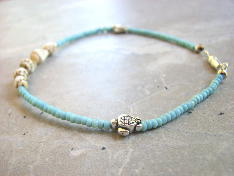 Turquoise And Shell Sea Turtle Ankle Bracelet Bits Off The Beach