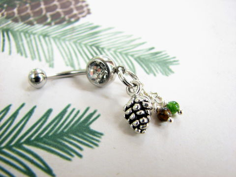 Silver,Pine,Cone,Belly,Button,Ring,with,Jade,and,Tiger,Eye,Gemstone,Beads,Fall jewelry, forest jewelry, Autumn body jewelry, pinecone jewelry, pine cone belly button ring, gemstone accent, dangle belly, hanging belly, body jewelry, navel piercing, fall bellybutton ring, tiger eye bead, jade bead