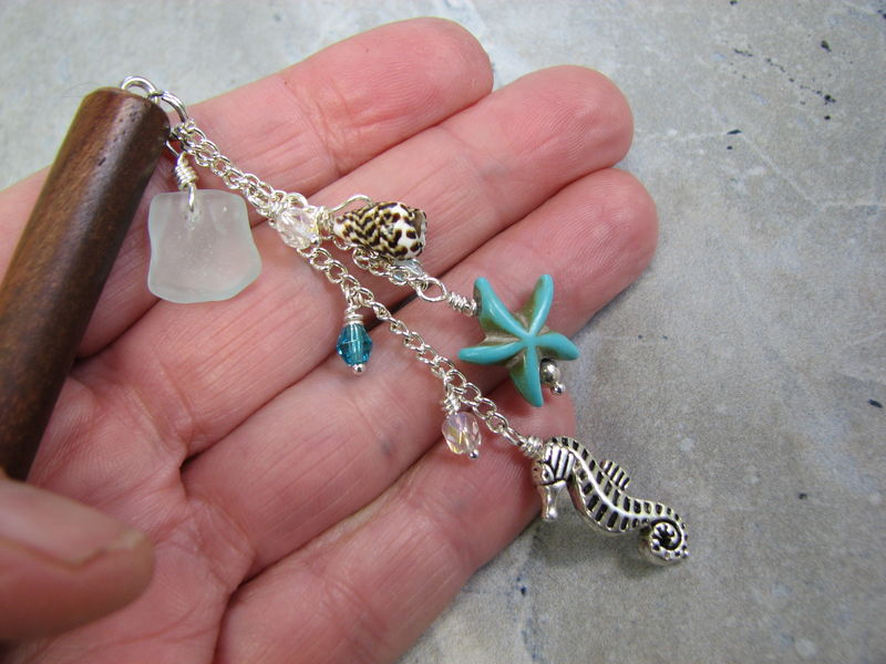 Sea Glass Beach Hair Pick with Turquoise Starfish - product images  of