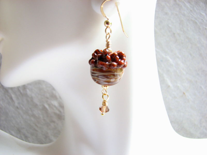 Lampwork Bead Acorn Earring with Gold Filled  - product images  of