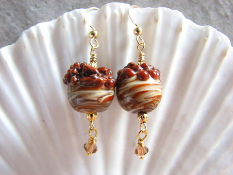 Lampwork,Bead,Acorn,Earring,with,Gold,Filled,Acorn earrings, Lampwork, lamp work, Thanksgiving Jewelry, brown, cream, gold, gold filled, nuts, fall jewelry, autumn earrings, dangles, harvest jewelry