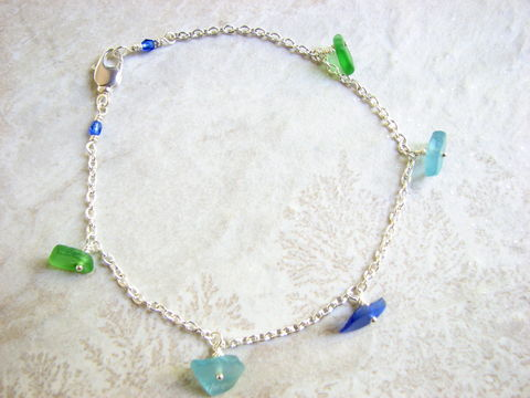 Womens,Chain,Sea,Glass,Charm,Anklet,dainty, sea glass, seaglass, beach glass, charm ankle, ankle bracelet, nautical, beachy, aqua, green, cobalt blue, sea blue, feminine, ankle jewelry, wire wrapped, handmade, unique, beach anklet, nautical anklet