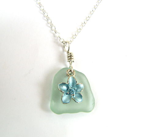 Sterling,Silver,Sea,Glass,Necklace,with,Flower,in,Aqua,Blue,seafoam green, sea glass, beach glass, seaglass, necklace, pendant, tropical flower, sterling silver, plumeria, light pale green, bits off the beach, sea foam, sterling silver sea glass necklace