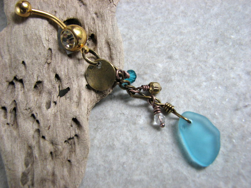 Long Beaded Brass Sea Glass Belly Button Ring With Gold Titanium Belly Bar