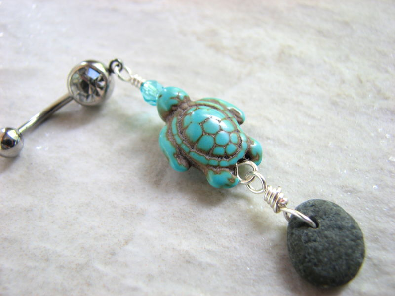 Beach Stone And Turquoise Sea Turtle Belly Button Jewelry