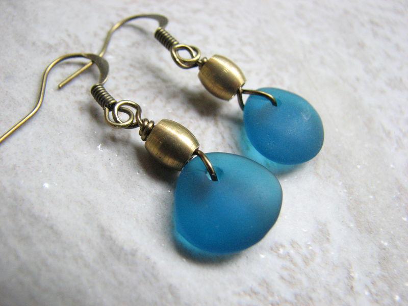 Cobalt blue opaque sea glass earrings sea glass jewelry seaglass earrings teardrop earrings handmade earrings blue beach glass gift for mom