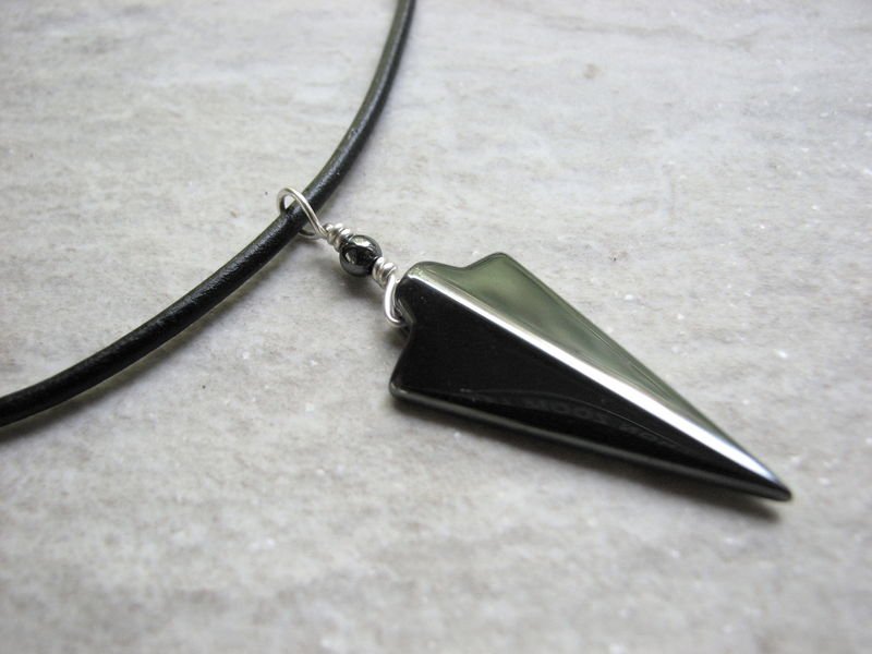 Handmade arrowhead necklace White arrowhead pendant Red and black beaded necklace One of a kind arrowhead necklace