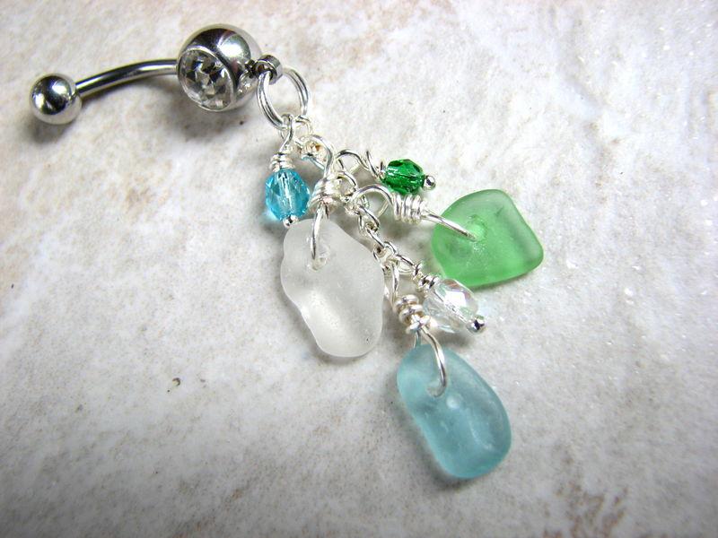 Tri Color Sea Glass Belly Button Rings