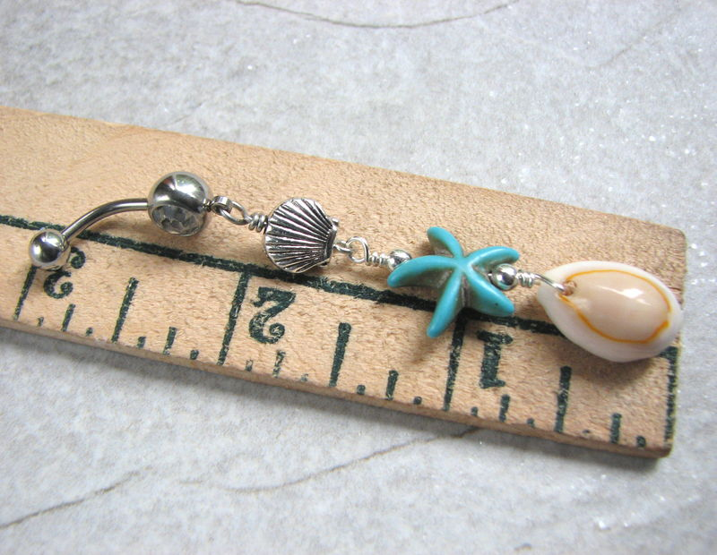 Long Turquoise and Silver Surgical Steel Beach Belly Button Jewelry Cowrie Sea Shell Belly Button Rings