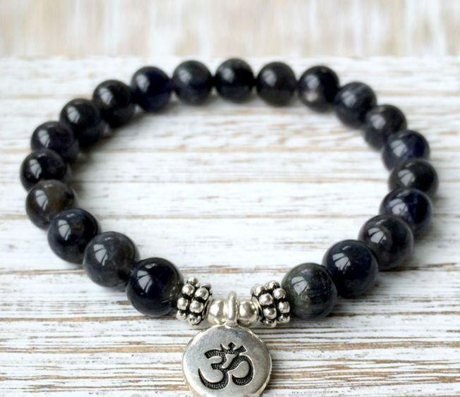 Black Onyx Om Charm Bracelet Strength Energy Everyday A Mala