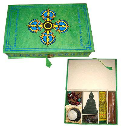 Meditation,Kit,-,Green,Color,mediation kit, japa mala, incense, prayer beads