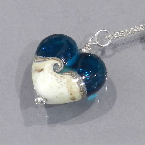 Ocean,Heart,Necklace,KA beads, Kelley Allen, glass, ocean, sand, blue, caribbean, Aqua, sea, lampwork, necklace, pendant, jewelry, handmade